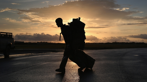 A US Marine arrives to take part in Operation United Assistance in Monrovia, Liberia