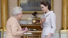 The Queen presented Angelina Jolie with her honorary Dame insignia