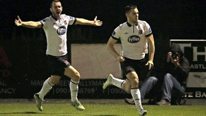 Dundalk's Patrick Hoban celebrates scoring a goal followed by Kurtis Byrne