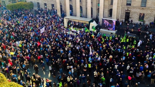 A garda source estimated the attendance for the protest at 30,000