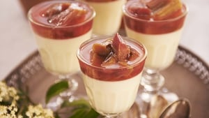 Yoghurt and Elderflower Cream with Poached Rhubarb: Rachel Allen