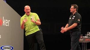 Michael van Gerwen full of cheer as James Wade looks on