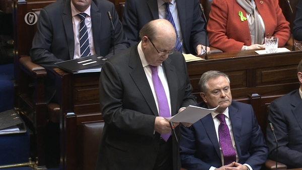 Michael Noonan delivering his Budget speech in the Dáil