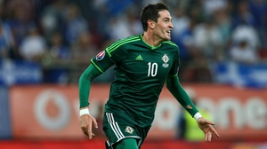 Kyle Lafferty celebrates scoring Northern Ireland's second goal