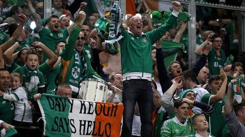 Ireland fans celebrate last month's draw in Germany