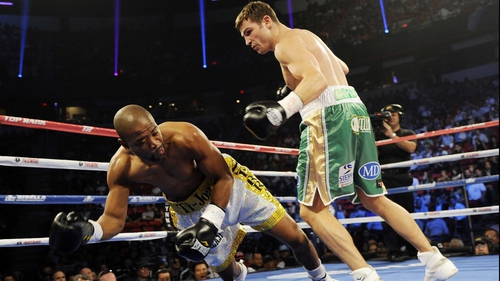 Matthew Macklin sends Joachim Alcine sprawling in 2012