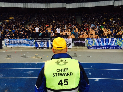 Steward in front of Dynamo Kiev Ultras, Olympic Stadium, Kiev.  (Photo: Tony Connelly)