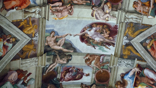 Part of the artwork of Michelangelo that adorns the ceiling of the Sistine Chapel at the Vatican