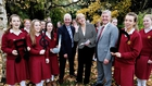 (l-r) Terry O'Neill, Co-operation Ireland; Minister for Arts, Heritage and the Gaeltacht Heather Humphreys and Greg Thompson, eFlow, with students from Loreto College, St Stephen's Green at the launch