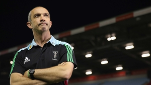 Conor O'Shea, the Harlequins director of rugby looks on during the game