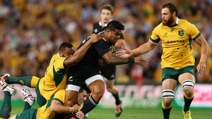 Malakai Fekitoa, who scored New Zealand's final try, is tackled during game
