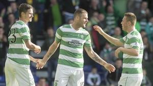 Anthony Stokes (centre) celebrates his side's third goal