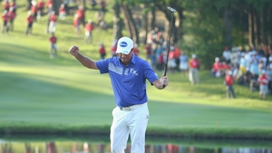 Scott Hend celebrates on the 18th hole during the final round of the Hong Kong open