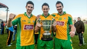 Brothers Martin, Michael and James Farragher celebrates Corofin's win over St Michael's in Tuam