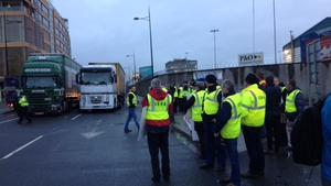 Lorry drivers held a four-hour blockade at Dublin Port on Monday
