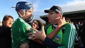 Gavin O'Mahony celebrates with Ger O'Loughlin after Kilmallock's win over Na Piarsaigh