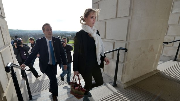 Ms Cahill arrives at Stormont for her meeting with Peter Robinson
