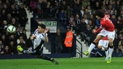 Marouane Fellaini shoots to score in the draw at West Brom last night