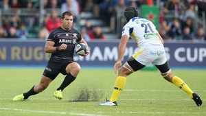 Julien Bardy (right) prepares to tackle Schalk Brits of Saracens during the game last weekend