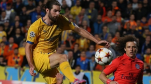 Cillian Sheridan in action in the Champions League against PSG