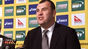 New Australia coach Michael Cheika speaks during his press conference