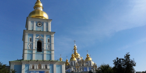 Golden domes of a Kiev church