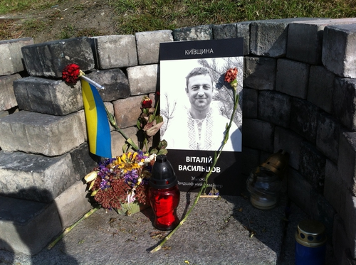 Shrine in Maidan Square to those who died there in February 2014