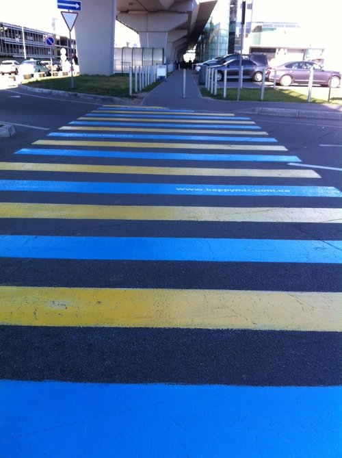 Pedestrian crossing painted in Ukrainian national colours