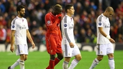 Mario Balotelli follows Pepe off the pitch at half-time at Anfield