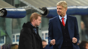 Arsenal boss Arsene Wenger celebrates a dramatic late turnaround at the Constant Vanden Stock Stadium