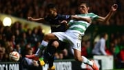 Celtic's Stefan Scepovic and Junior Morais vie for posession