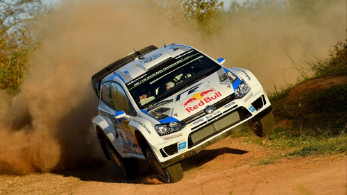 Sebastien Ogier and Julien Ingrassia of France compete in their Volkswagen Polo R WRC