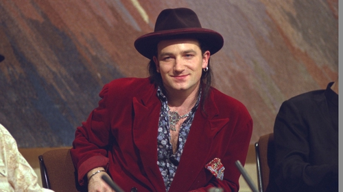Bono, circa 1987 - apparently he didn't carry a pen.