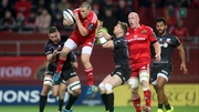 Andrew Conway takes a high ball under pressure from Will Fraser and David Strettle