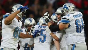 Matt Prater (centre) of the Detroit Lions celebrates with team-mates after kicking a 48-yard field goal