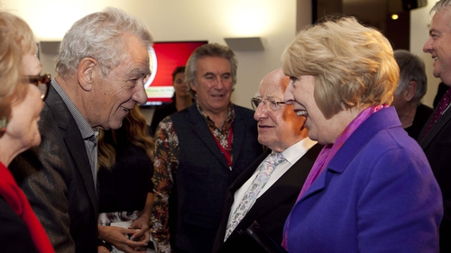 President Higgins and wife Sabina attended the Dylathon at Swansea's Grand Theatre, with Ian McKellen also among the guests Photos: Fennell Photography