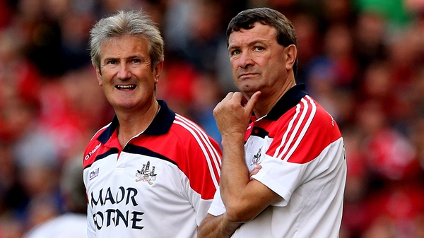 Kieran Kingston pictured with the outgoing Cork manager