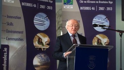 President Higgins addresses the Ireland-Wales Programme at Swansea University
