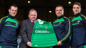 Ireland captain Michael Murphy, GAA president Liam O'Neill, manager Paul Earley and vice-captain Aidan Walsh