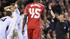 Federico Fernandez saw red against Liverpool