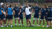 Michael Cheika talks to his charges during an Australia training session