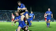 Leinster's Luke McGrath and Luke Fitzgerald with Dougie Fife of Edinburgh