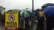 There was heavy rain before the start of the protest march in Bandon, Co Cork