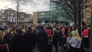 Crowds gathered outside the offices of Fingal County Council in Dublin (Pic: Tom Bissett)