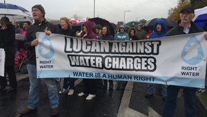 Protesters in Lucan braved the wet weather