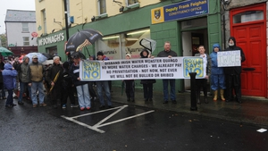 In Boyle, Co Roscommon, demonstrators gathered outside local Fine Gael TD Frank Faighan's constituency office