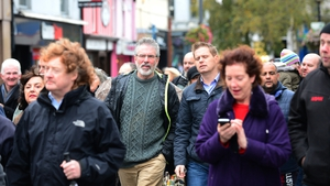 Sinn Féin President Gerry Adams marches with protesters in Dundalk
