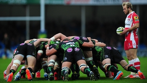 Dan Robson of Gloucester prepares to feed the scrum during the LV= Cup match between Exeter Chiefs and Gloucester at Sandy Park