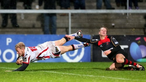 Ulster's Stuart Olding dives in for a try