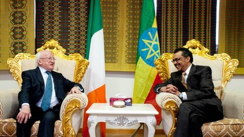 President Michael D Higgins begins his three-week trip in Ethiopia